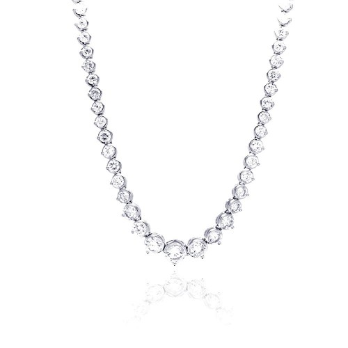 Wholesale Sterling Silver 925 Rhodium Plated Chain CZ Necklace - BGP00451