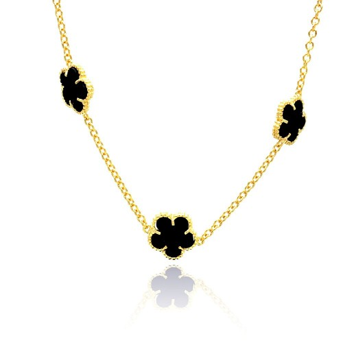 Wholesale Sterling Silver 925 Gold Plated Black Onyx Flower CZ Necklace - BGP00456