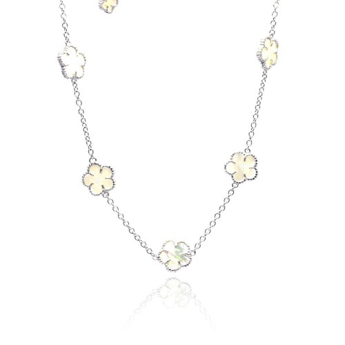 Wholesale Sterling Silver 925 Rhodium Plated Mother of Pearl Flower White Enamel CZ Necklace - BGP00457-18