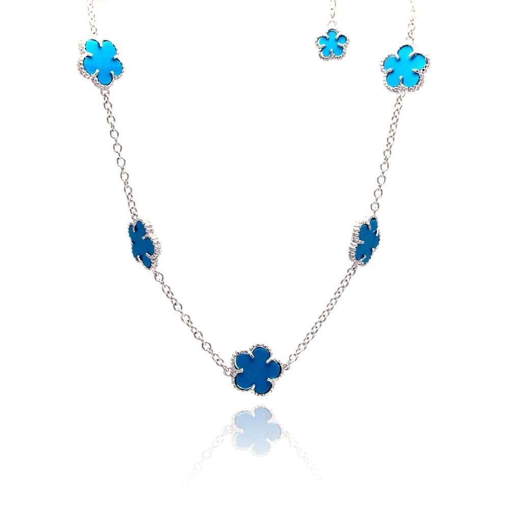 Wholesale Sterling Silver 925 Rhodium Plated Blue Flower CZ Necklace - BGP00460