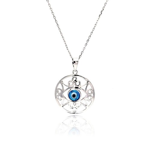 Wholesale Sterling Silver 925 Rhodium Plated Outline Disc Evil Eye CZ Necklace - BGP00461