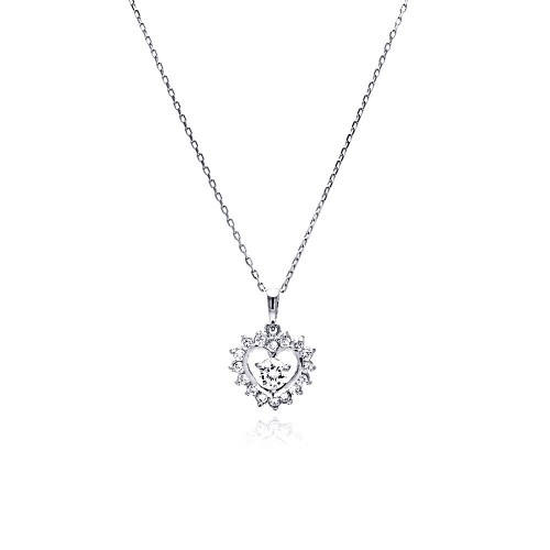 Wholesale Sterling Silver 925 Rhodium Plated Open Heart CZ Necklace - BGP00465