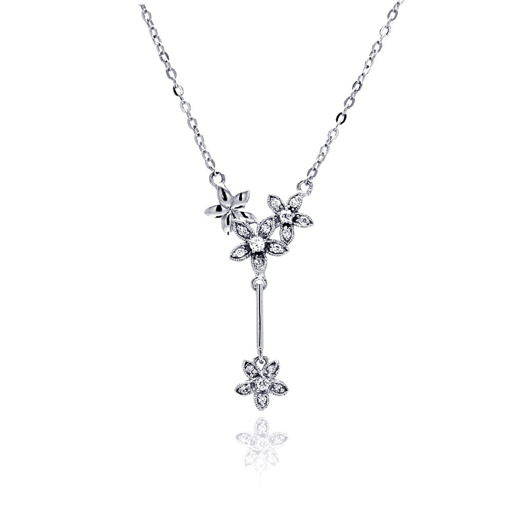 Wholesale Sterling Silver 925 Rhodium Plated Flower CZ Dangling Necklace - BGP00469