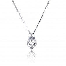 Sterling Silver Rhodium Plated Center Round CZ Necklace - BGP00473