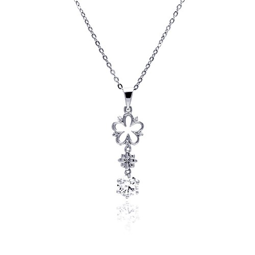 Wholesale Sterling Silver 925 Rhodium Plated Open Flower CZ Hanging Necklace - BGP00476