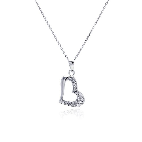 Wholesale Sterling Silver 925 Rhodium Plated Open Heart CZ Necklace - BGP00481