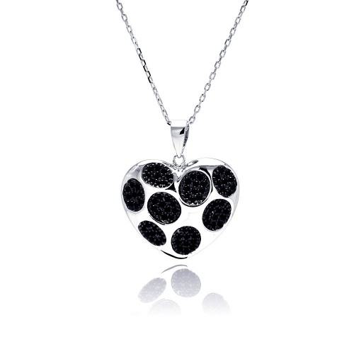 Wholesale Sterling Silver 925 Rhodium Plated Black Dot Heart CZ Necklace - BGP00489