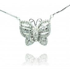 Sterling Silver Rhodium Plated Pave Butterfly CZ Necklace - BGP00496