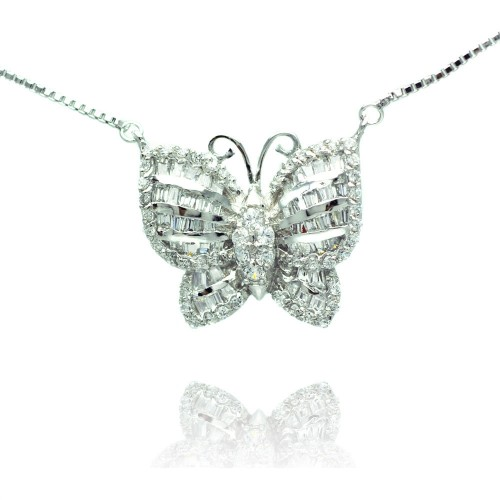Wholesale Sterling Silver 925 Rhodium Plated Pave Butterfly CZ Necklace - BGP00496