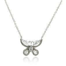 Sterling Silver Rhodium Plated Butterfly CZ Necklace - BGP00502