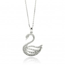Sterling Silver Rhodium Plated Open Swan CZ Necklace - BGP00506
