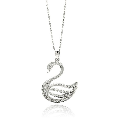 Wholesale Sterling Silver 925 Rhodium Plated Open Swan CZ Necklace - BGP00506