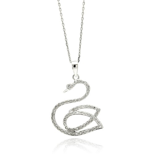 Wholesale Sterling Silver 925 Rhodium Plated Open Swan CZ Necklace - BGP00510