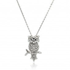 Sterling Silver Rhodium Plated Owl CZ Necklace -  BGP00512