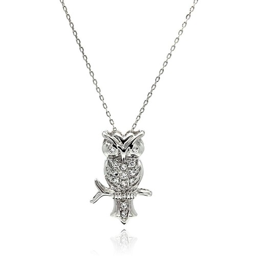 Wholesale Sterling Silver 925 Rhodium Plated Owl CZ Necklace - BGP00512