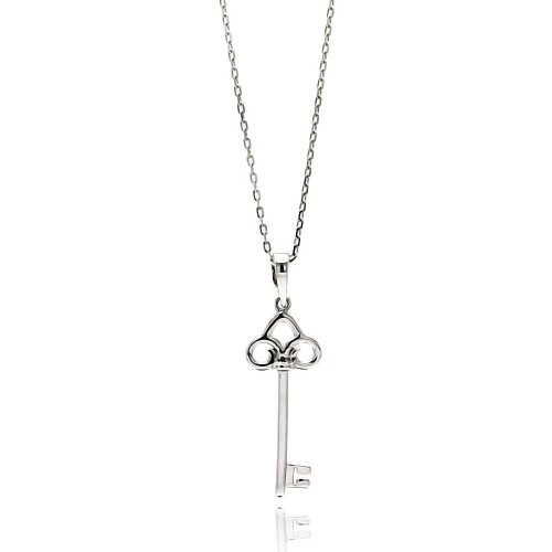 Wholesale Sterling Silver 925 Rhodium Plated Open Key CZ Necklace - BGP00518