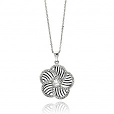 **Closeout** Wholesale Sterling Silver 925 Rhodium Plated Flower Inner Zebra Print CZ Necklace - BGP00519