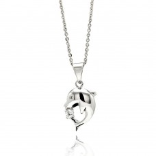 Sterling Silver Rhodium Plated Dolphin CZ Necklace - BGP00532