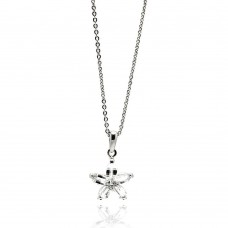 **Closeout** Wholesale Sterling Silver 925 Rhodium Plated Flower Design CZ Necklace - BGP00535