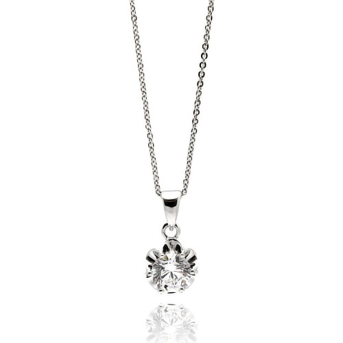 Wholesale Sterling Silver 925 Rhodium Plated Flower CZ Necklace - BGP00537
