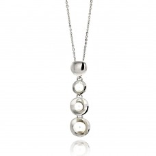 Wholesale Sterling Silver 925 Rhodium Plated Graduated Multiple Disc Fresh Water Pearl Necklace - BGP00538