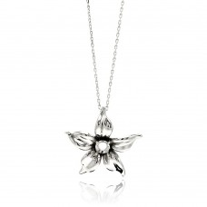Sterling Silver Rhodium Plated Flower CZ Necklace - BGP00545
