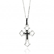 Wholesale Sterling Silver 925 Rhodium Plated Open Cross Black and Clear CZ Necklace - BGP00547