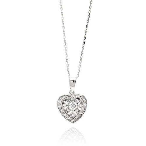 Wholesale Sterling Silver 925 Rhodium Plated Open Heart CZ Necklace - BGP00553