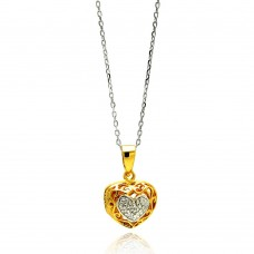 Sterling Silver Gold Plated Heart CZ Necklace - BGP00558