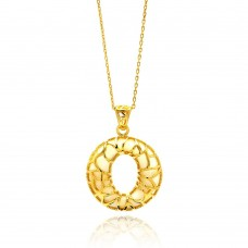 Sterling Silver Gold Plated Open O Filigree CZ Center White Onyx Necklace - BGP00559