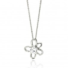 **Closeout** Wholesale Sterling Silver 925 Rhodium Plated Open Flower Center CZ Necklace - BGP00565
