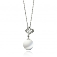 Sterling Silver Rhodium Plated Open Heart CZ Hanging Pearl Necklace - BGP00569