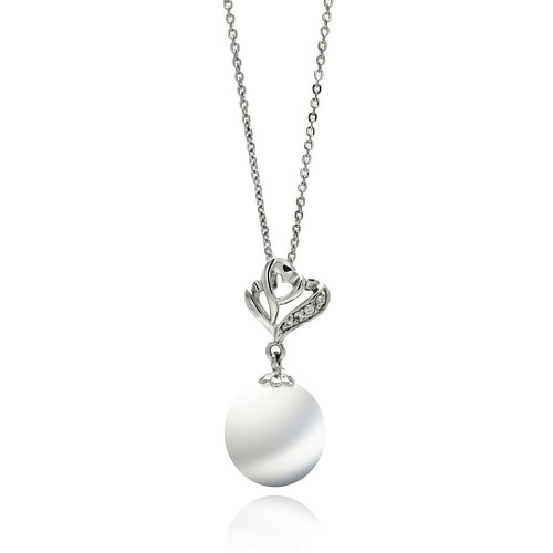 Wholesale Sterling Silver 925 Rhodium Plated Open Heart CZ Hanging Pearl Necklace - BGP00569