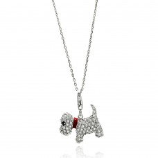 Sterling Silver Rhodium Plated Dog CZ Red Enamel Leash Necklace - BGP00585
