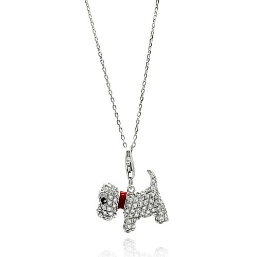 Wholesale Sterling Silver 925 Rhodium Plated Dog CZ Red Enamel Leash Necklace - BGP00585
