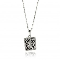 Sterling Silver Rhodium Plated Square Inner Cross Black Filigree CZ Necklace - BGP00588