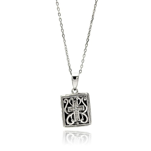 Wholesale Sterling Silver 925 Rhodium Plated Square Inner Cross Black Filigree CZ Necklace - BGP00588