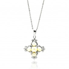 **Closeout** Wholesale Sterling Silver 925 Rhodium Plated Cross Yellow Pearl Necklace - BGP00590