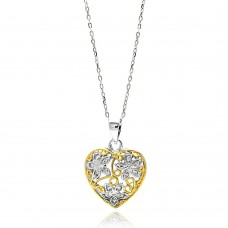 Sterling Silver Gold and Rhodium Plated Two Toned Heart Filigree CZ Necklace - BGP00591