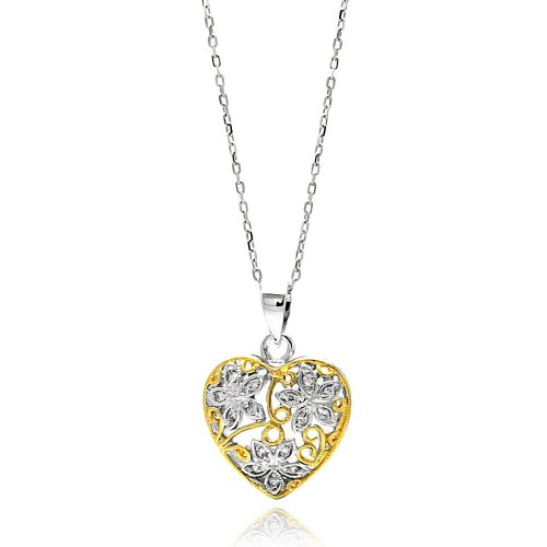 Wholesale Sterling Silver 925 Gold and Rhodium Plated Two Toned Heart Filigree CZ Necklace - BGP00591