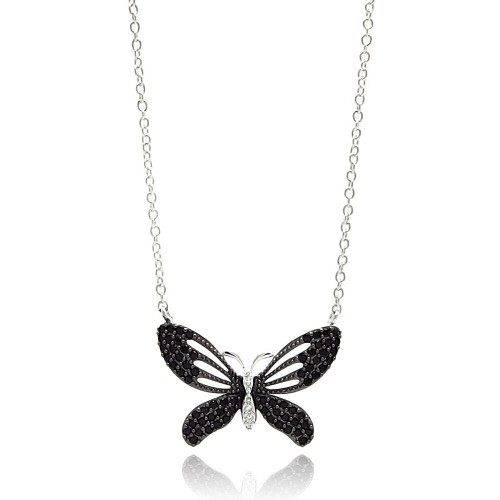 Wholesale Sterling Silver 925 Rhodium Plated Black Open Butterfly CZ Necklace - BGP00597