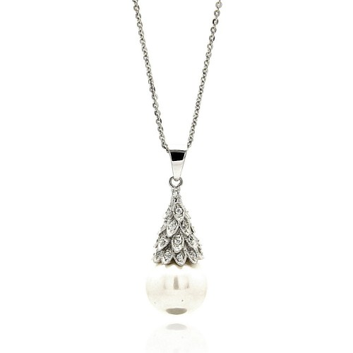 Wholesale Sterling Silver 925 Rhodium Plated Multiple Tiny Leafs CZ Hanging Pearl Necklace - BGP00601