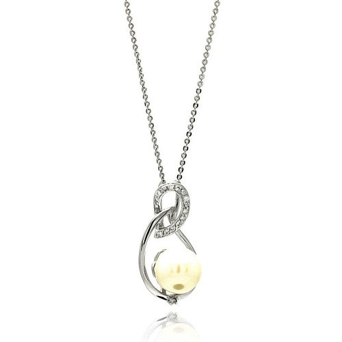 Wholesale Sterling Silver 925 Rhodium Plated Open Teardrop CZ Center Pearl Necklace - BGP00603