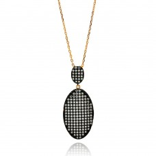 -Closeout- Wholesale Sterling Silver 925 Rose Gold and Black Plated Graduated Oval Black and Clear CZ Necklace - BGP00607