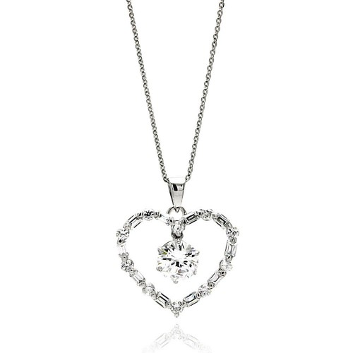 Wholesale Sterling Silver 925 Rhodium Plated Open Heart Center CZ Necklace - BGP00608