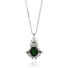 Sterling Silver Rhodium Plated Center Green Frog CZ Necklace - BGP00610