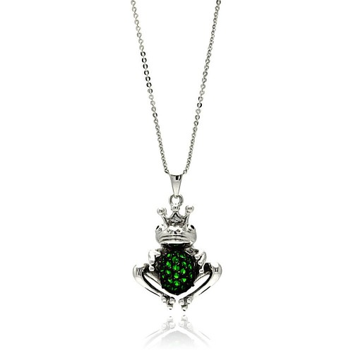 Wholesale Sterling Silver 925 Rhodium Plated Center Green Frog CZ Necklace - BGP00610
