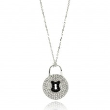 Wholesale Sterling Silver 925 Rhodium Plated Black and Clear CZ Key Lock Necklace - BGP00616