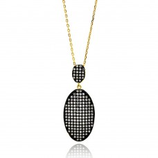 Sterling Silver Black and Gold Plated Clear Oval CZ Necklace - BGP00618