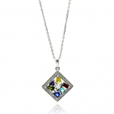 Wholesale Sterling Silver 925 Rhodium Plated Multicolor Square CZ Necklace - BGP00619